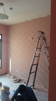 wall painting design, stencils, custom made Dubai, bedroom interior