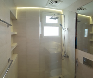 Master, 2nd bedroom and guest room bathroom remodelling, fitout dubai, bathroom fitout, design, consultation, practical, sliding shower doors, mirror cabinets