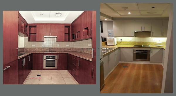 before renovation kitchen and after, wooden floor in the kitchen, renovated kitchen in greens, dubai, design, colours, grey kitchen Dubai design, decor consultation