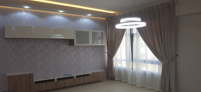 living room, led lighting, curtains, wallpaper