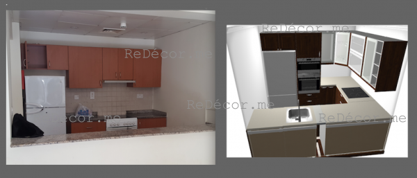 new kitchen remodelling in Greens, dubai, design , brown with white