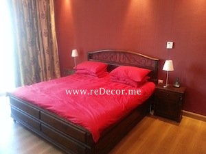 solid wood red interior bedroom