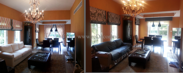villa small makeover, orange wall with linnen colourfull or classy silk curtains