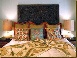 indian style bedroom, fabrics, colours