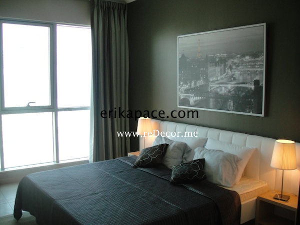 Earthy interior of Master bedroom Dubai Downtown