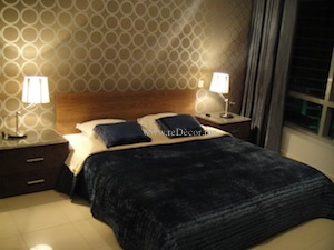 chick cozy luxurious blue bedroom