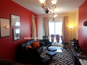simple black and red interiors dubai