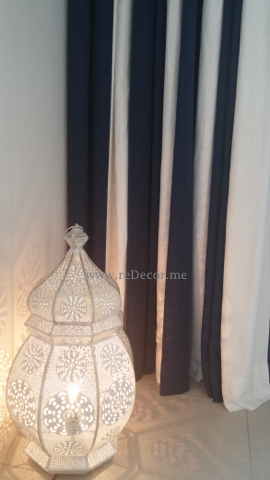 blue and white designed customs made curtains dubai