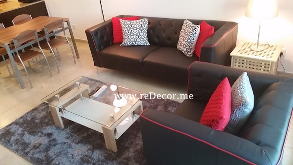 simple interior decor , black and red interiors for rental property in Gold Crest, JLT