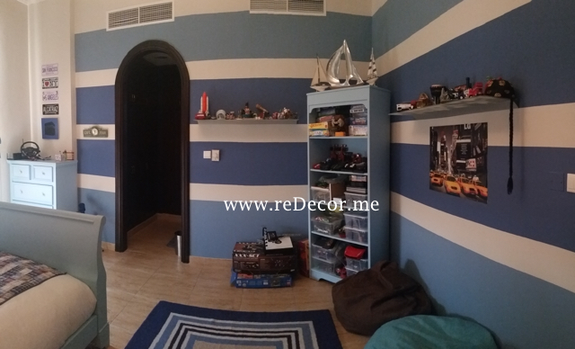 Blue and grey boy room interior decor with stripes , Dubai interior decor
