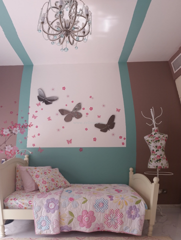special decor for kids, xgirls bedroom, brownish pink, turqoise, butterflies, flowers, pink , Dubai interior decor and design for kids, door sign do not enter