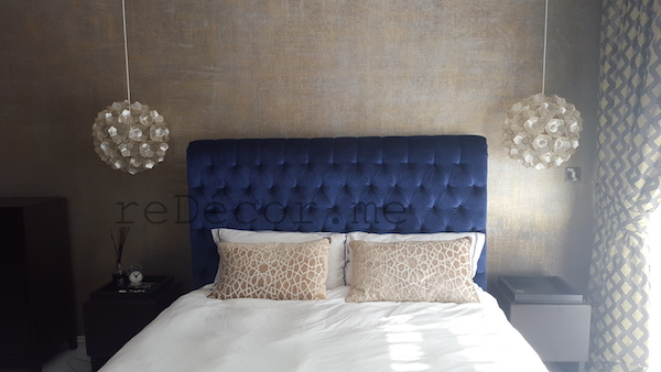 chic contemporary Master bedroom interior, design , Dubai, blue bed