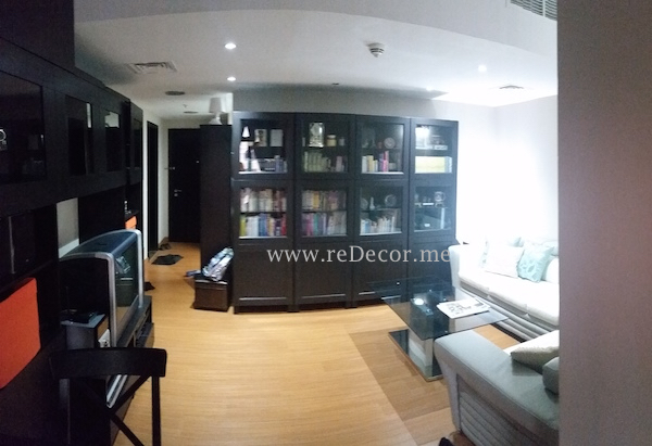 Living room design, JVC, Fortunato, separated, built partition,, organised living
