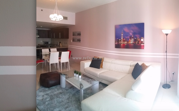 Living room painted design wall, offpink brown, Dubai , Interior decor and design