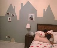 kids room decor, design, dubai, interiors by artist, glowing stars, city skyline view, animals, 2 year old room