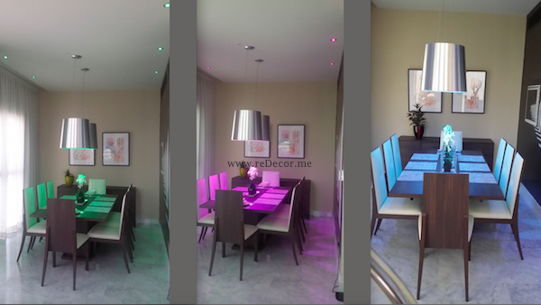 colourfull LED lighting, before and after dining area, mr perswall wallpaper, design, luxurious living decor Dubai, DIFC, central park, duplex, LED lighting, custom made curtains