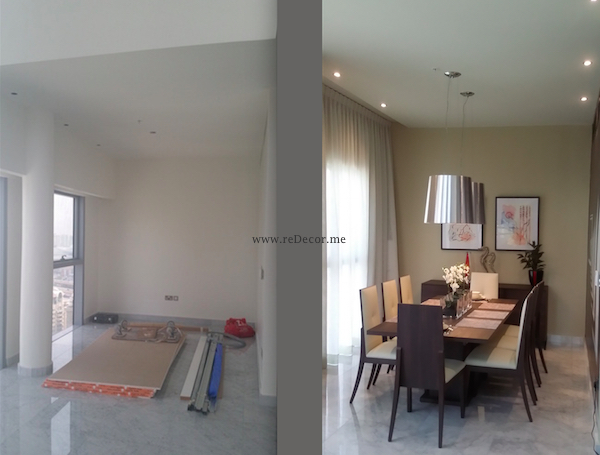 before and after dining area, mr perswall wallpaper, design, luxurious living decor Dubai, DIFC, central park, duplex, LED lighting, custom made curtains