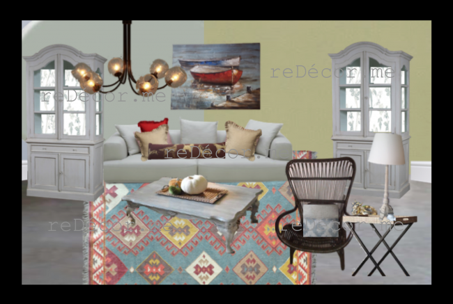 shabby chic living room mood board, west elm, rug, design Dubai