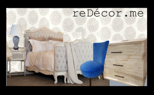 shabby chic bedroom mood board, blue beige , wooden flooring, consultation dubai