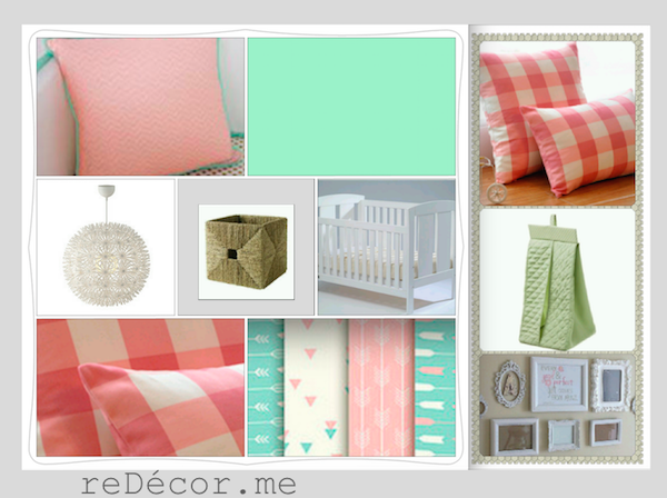 baby nursery decor, pink, mint green, white, interior consultation
