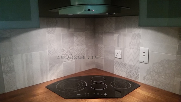 organised kitchen ceiling, wood looking floor tiles for the kitchen, modern tiles, grey patterns, Kitchen remodeling in Old Greens, dubai, design and consultation, wooden kitchen counter, floor wood looking tiles