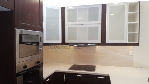 brown modern kitchen, before after kitchen in Greens, design, remodelling, dubai