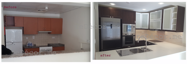 before after kitchen in Greens, design, remodelling, dubai