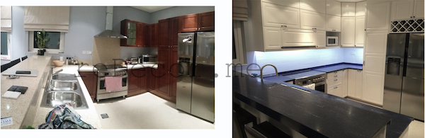 before and after kitchen remodelling, off white with blue corian, Furjan villas, Dubai design and consultation