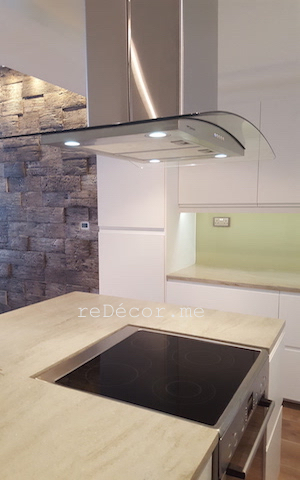 design fit out kitchen, before and after kitchen fitout dubai, kitchen modern motorcity dubai fitout, remodelling, design, off white, handles, ceiling hood