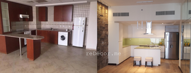 before and after kitchen fitout dubai, kitchen modern motorcity dubai fitout, remodelling, design, off white, handles, ceiling hood