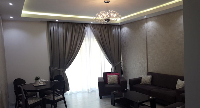 fit out dubai, renovation, remodelling, modern grey, gypsum ceiling, laminate flooring, custom made curtains, bathroom remodelling, kitchen design