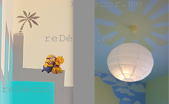 ceiling sun and moon glow at night, chalkboard wall, minions, Kids rooms design and decor dubai, Minions castle room, kids rooms decor design, consultation, special decor, glowing stars, cool kids rooms, minions stickers, height chart on wall kids