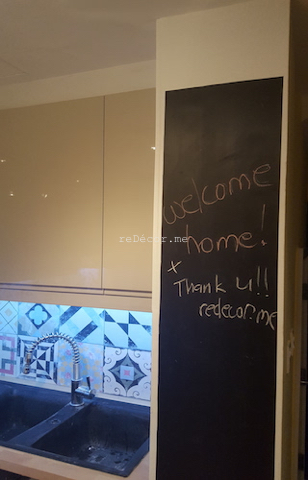 chalkboard in the kitchen, black, dining area, french decor tiles, before and after kitchen renovation, modern ikea kitchen with wooden counter in springs,remodelling-kitchen-french-decor-dubai fit out
